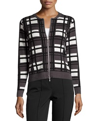 P. Luca Long Sleeve Knit Front Zip Cardigan Blk Off W