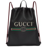 Gucci Black Small Logo Drawstring Backpack