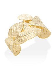 Kenneth Jay Lane Couture Collection Embossed Leaf Bracelet Gold