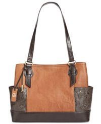 Giani Bernini Sandalwood Embossed Tote Created For Macy's Tobacco Espresso