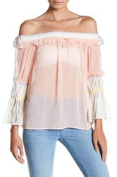 Whyte Eyelash Off The Shoulder Chiffon Blouse Pink