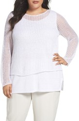 Eileen Fisher Plus Size Women's Organic Linen Tiered Sweater White