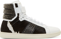Saint Laurent White And Black Calf Hair Sl 10 Court Classic High Top Sneakers