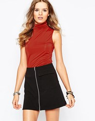 First And I Sleeveless Roll Neck Top Red