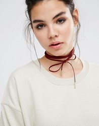 Glamorous Berry Tie Up Suedette Choker Berry Red