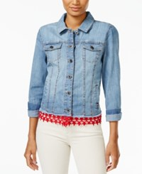 Tommy Hilfiger Lace Trim Denim Jacket Only At Macy's Medium Blue