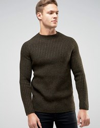 New Look Crew Neck Jumper In Dark Khaki Dark Khaki Green