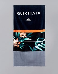 Quiksilver Freshness Towel In Hawaiian Floral Print Black