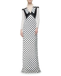 Burberry Long Sleeve Macrame Lace Gown Black White