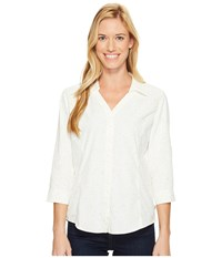 Royal Robbins Expedition Chill Stretch Sky Print 3 4 Sleeve Top Cr Me Women's Long Sleeve Button Up Beige