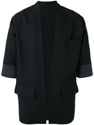 Lardini Striped Trim Cardigan Black
