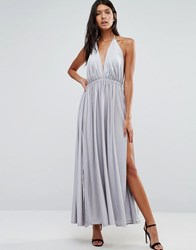 Pixie And Diamond Plunge Front Maxi Dress Silver