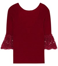 Oscar De La Renta Lace Trimmed Wool Sweater Red