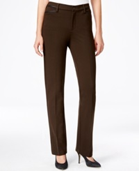 Nydj Petite Faux Leather Trim Ponte Trousers Dark Brown