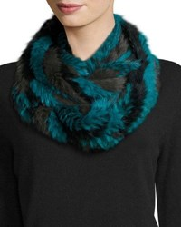 Jocelyn Rabbit Fur Infinity Scarf Green Multicolor