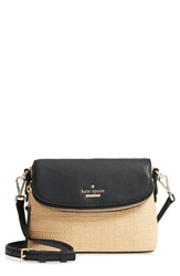Kate Spade New York Jackson Street Harlyn Straw And Leather Crossbody Bag Beige Light Natural
