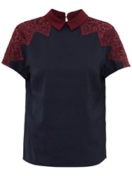 Ted Baker Quintaa Lace Trim Collared Top Navy