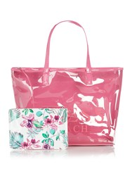 Guess Floral Clear Beach Bag Purple