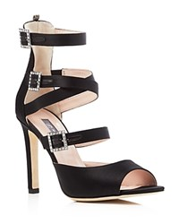 Sarah Jessica Parker Sjp By Fugue Satin Strappy High Heel Sandals Black