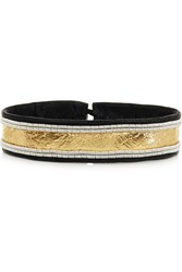 Maria Rudman Embroidered Metallic Leather Bracelet Black