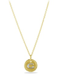G' Pendant With Diamonds In Gold On Chain David Yurman