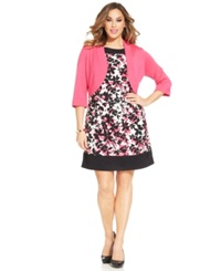Jessica Howard Plus Size Floral Print Sheath And Cardigan