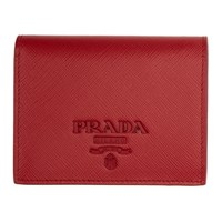 Prada Red Saffiano Logo Wallet