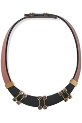 Marni Leather Gold Tone And Crystal Necklace Antique Rose