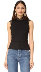 Amanda Uprichard Sleeveless Lace Mock Neck Top Black