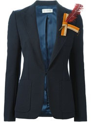 Faith Connexion Feather Brooch Blazer Blue
