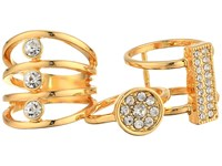 Guess Three Piece Ring Set With Crystal Stones Gold Ring
