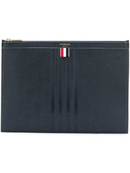 Thom Browne 4 Bar Stained Medium Document Holder Blue