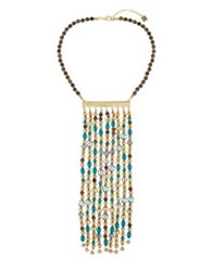 Laundry By Shelli Segal Long Beaded Bib Necklace Gold