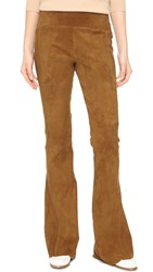 Getting Back To Square One Suede Flare Pants Cognac