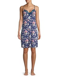 Tahari Floral Lace Chemise Floral Navy