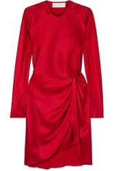 Michelle Mason Twisted Silk Satin Mini Dress Red