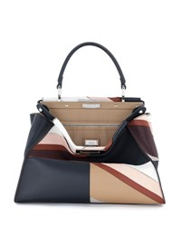 Fendi Peekaboo Medium Patchwork Marquetry Calf Bag Multi