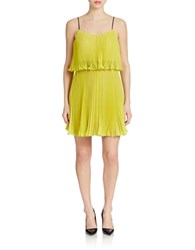 Abs By Allen Schwartz Pleated Popover Dress Chartreuse
