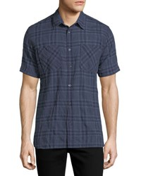 Billy Reid Clarence Plaid Cotton Shirt Navy