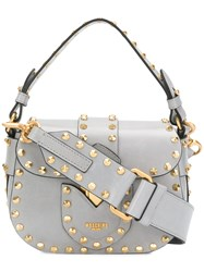 Moschino Studded Satchel Mini Bag Grey