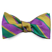 Louise And Zaid Wide Stripes Silk Bow Tie