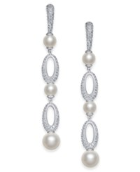 Danori Silver Tone Imitation Pearl And Pave Drop Earrings Created For Macy's Grey