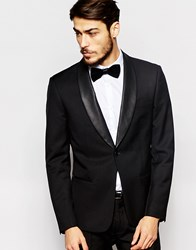 Antony Morato Tuxedo Suit Jacket With Faux Leather Shawl Lapel In Super Slim Fit Black