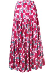 La Doublej Geometric Peasant Skirt Pink And Purple
