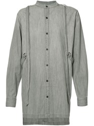 Skingraft Button Up With Harness Shirt Grey