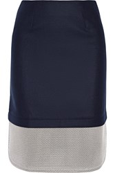 Mother Of Pearl Tabley Mesh Paneled Brushed Wool Blend Skirt Blue