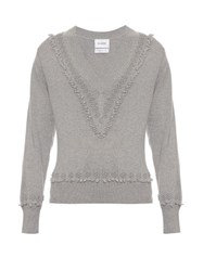 Barrie Romantic V Neck Cashmere Sweater Light Grey
