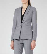 Reiss Nicola Jacket Womens Checked Single Breasted Blazer In Blue