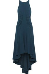 Halston Asymmetric Stretch Crepe Midi Dress Storm Blue