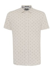 Criminal Chester Printed Short Sleeved Shirt Ecru